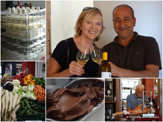 Tasty specialties of Tuscany – cheese (Fattoria Corzano e Paterno), wine (Pasolini dell'Onda), ham (Enoteca e Convivio), gelato (Pappa Grappa),  and fresh produce (Frantoio Sociale)