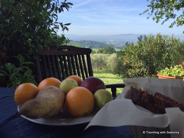 Morning view of Tuscan hills and Val di Pesa from the terrace of La Novellina