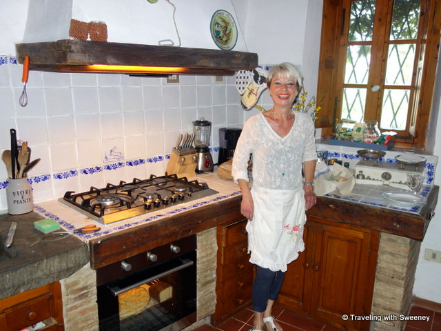 Monica Bartarelli in the kitchen of La Novellina