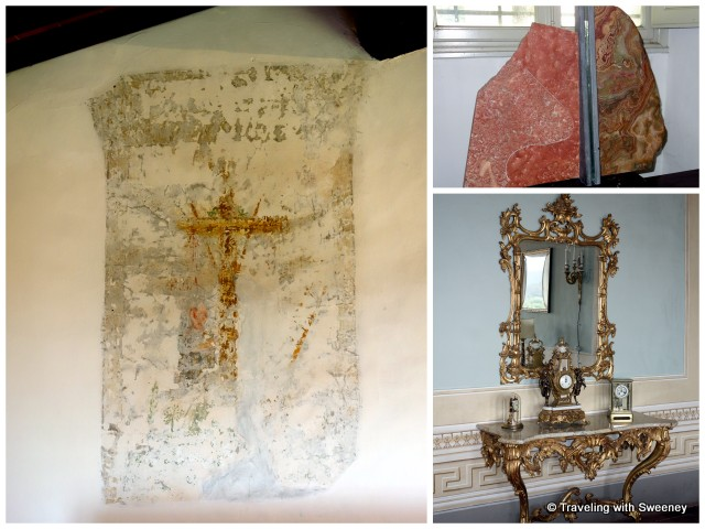 Religious fresco in old servants' quarters, art by Dini family friend, sculptor Ron Mehlman, and ornate antique table and mirror