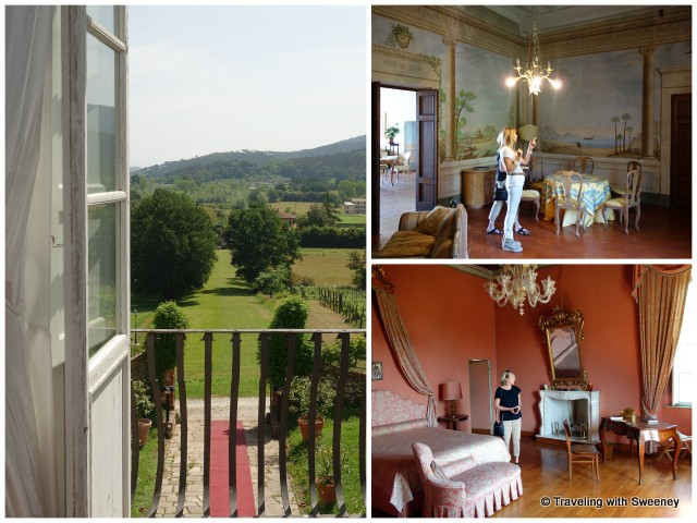Second floor salon and view from the Juliet balcony; one of the 2nd floor bedrooms