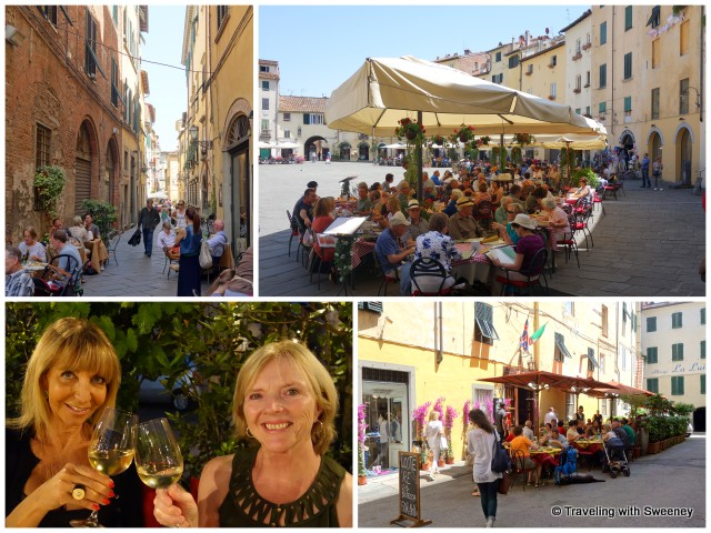 Top: Al fresco dining in Lucca Bottom: Enjoying wine and dinner with Gianna at Osteria Miranda and lunch at L'Oste di Lucca