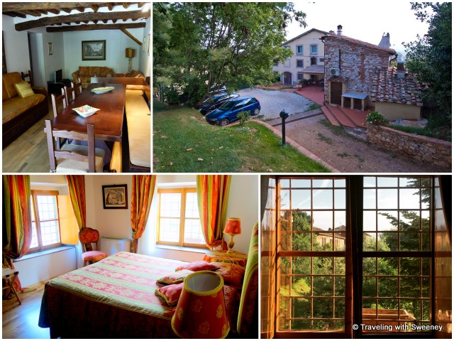 From top right: Renovated farmhouse with Vera private apartments, Vera 3 dining and living area, one of three bedrooms in Vera 3, and lovely early morning view through bedroom window
