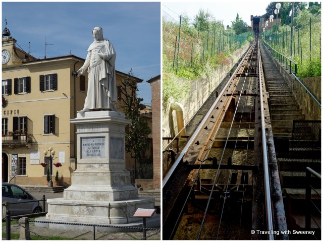 Statue of Giovanni Boccaccio and funicular railway