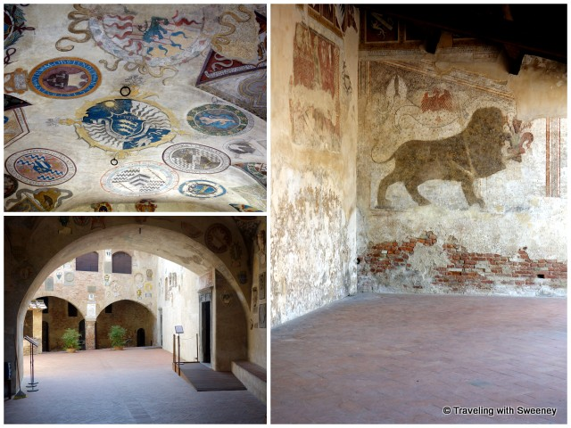 A peek inside the Palazzo Pretorio and murals on the ceilings and walls