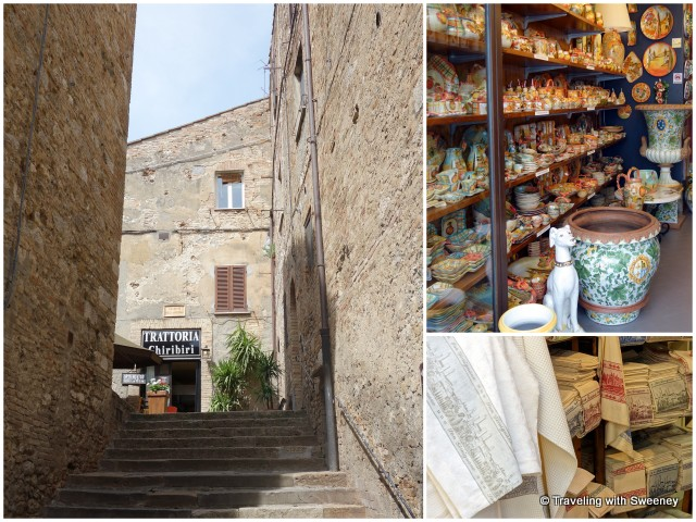 Stairs to Piazza della Madonna (left) and shops on Via Giovanni (right)