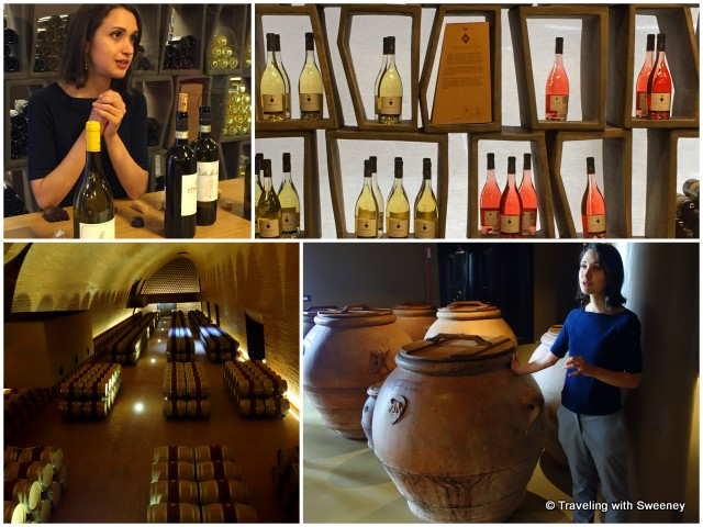 From top left: Time for tasting after the tour; alluring display of wine bottles in the shop; terracotta vats for olive oil production; vaulted wine cellar