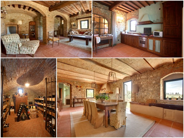 Spacious living areas, large kitchen, bright dining area, and wine cellar of Casa Mattei