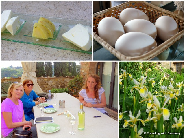 Top left: Marzolino (soft cheese like mozzarella), Erbolino (fresh pecorino with garlic, parsley and hot pepper), and goat cheese; on the terrace with our guide Babeth and Arianna enjoying Il Corzanello Bianco 2014; fresh eggs in the shop; beautiful irises at the dairy