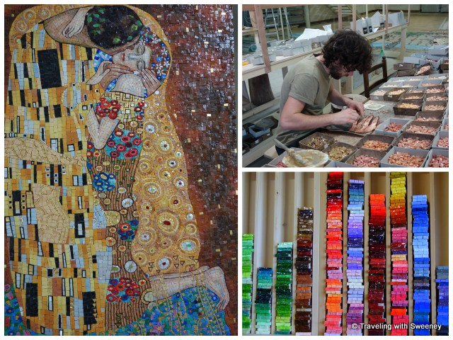 "Left: Piero Giannoni's mosaic of Gustav Klimt's ""The Kiss""; Right: Mosaic artist at work in the studio and colorful glass pieces"