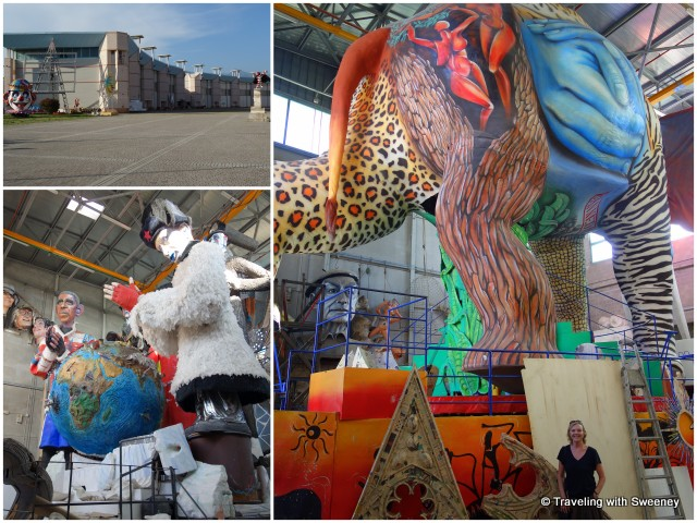 Hangars housing the enormous floats of La Cittadella di Carnevale in Viareggio