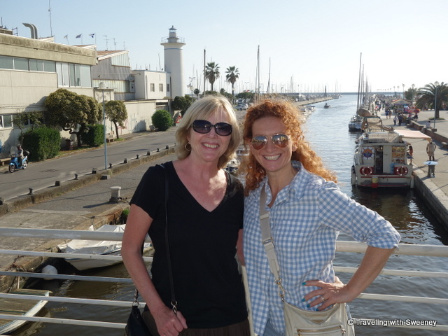 With Serena Giovannoni on a bridge across the Burlamacca Canal in Viareggio