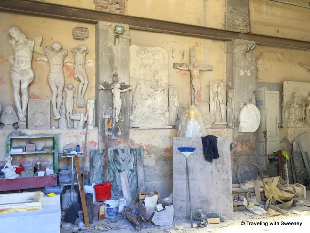 Religious marble works in progress in Pietrasanta
