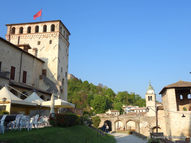 On the grounds at Queen Cornaro's Castle; Bell tower of Asolo Cathedral visible on the right