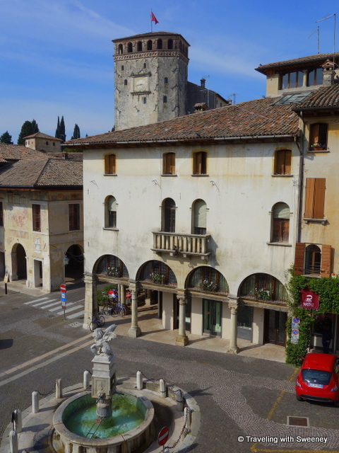 "Room with a view: Queen Cornaro's Castle seen from our ""Elena"" apartment on Piazza Garibaldi in Asolo"