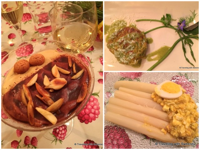 Herb, borage leaves and ricotta pie (top right), white asparagus and egg salad (bottom right), and delectable tiramisu
