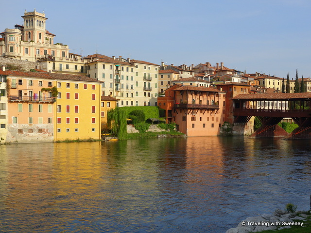 Buildings of Bassano del Grappa (liberty style seen at the top) and Ponte Vecchio over the River Brenta