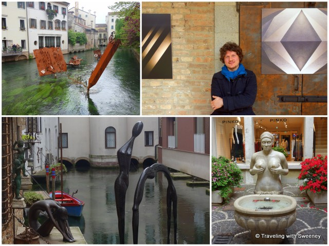 Art of Treviso — sculptures on the river (left), photographer Alessandro Trevisin (top right), Fontana delle Tette (bottom right)