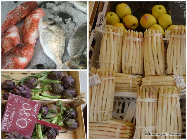 Fresh seafood, white asparagus, and artichokes at the markets in Treviso