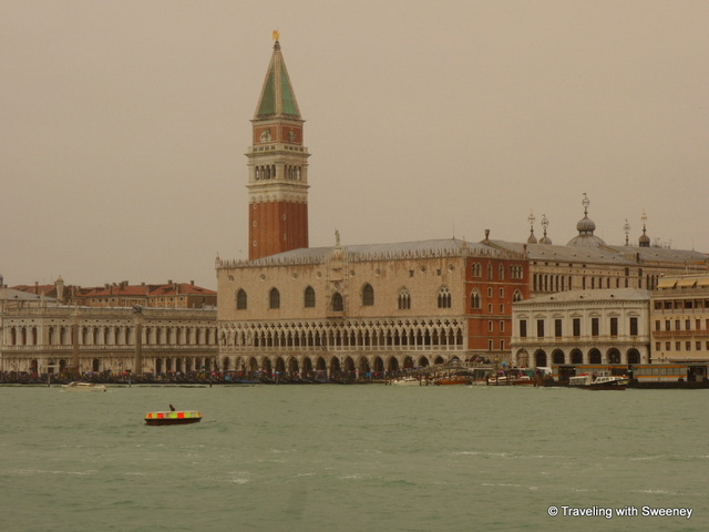 Arriving in Venice by boat as a light rain falls
