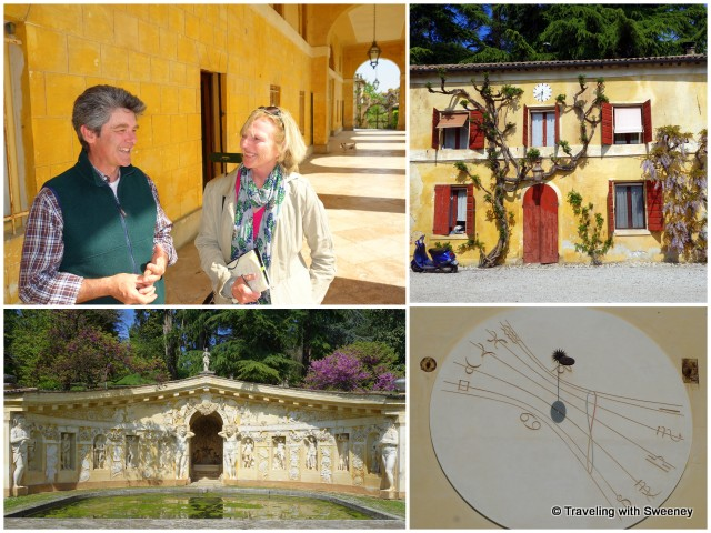 With Vittorio Dalle Ore, the estate winery, one of two sundials on the facade, and the Nymphaeum of the villa's garden
