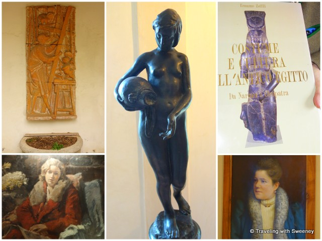 The artistic essence of Villa Collina — paintings, sculptures, art book published by the countess (top right)