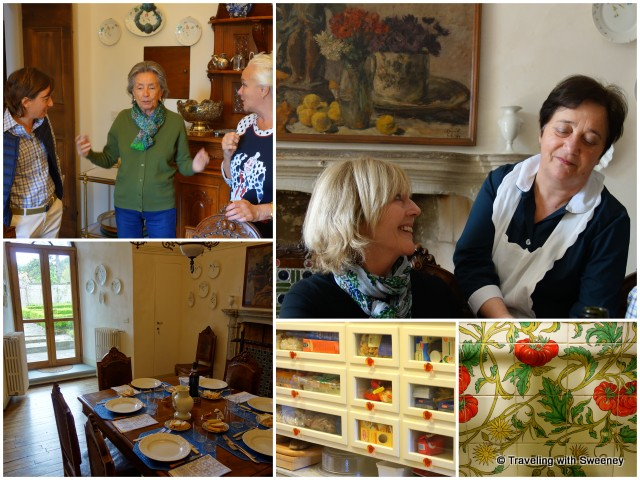 Lunch and conversation at Villa La Collina; exquisite touches of the villa's kitchen (bottom right)